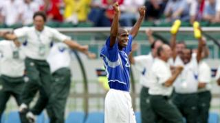 Edilson celebrates quarter-final win against England in the 2002 World Cup