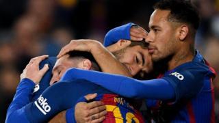 Neymar, Suárez y Messi forman el ataque de lujo del Barcelona.