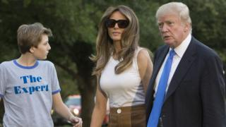 Barron, Melania and Donald Trump arrive at the White House, 11 June