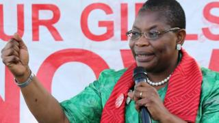BringBackOurGirls campaigners Oby Ezekwesili speak during a meeting with the group in Abuja, on June 19, 2015.