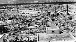 In this undated picture provided by the U.S. Strategic Bombing Survey, the destroyed city of Hiroshima, Japan is seen from the Red Cross hospital building located about one mile from the epicenter of the nuclear blast from the 'Little Boy' atomic bomb which was detonated by the U.S