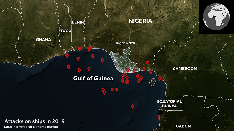 Gulf of Guinea pirate attacks map