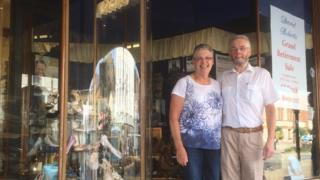 Hilary and Andrew Roberts pictured outside the store
