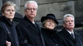 Dr Fritz von Weizsäcker, second from left, at his father's funeral with his siblings