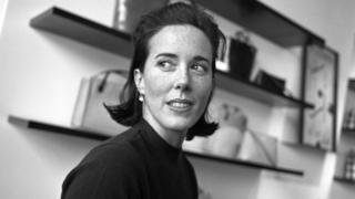 Kate Spade photographed in black and white image her handbag store in 2000