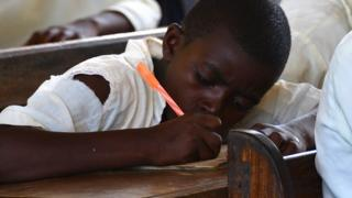 A child at school in Zanzibar, Tanzania