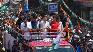 Congress Party Senior Leaders, Rahul Gandhi and Priyanka Gandhi clicked during a road show, in Amethi.