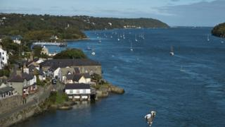 Houses on Anglesey as viewed from Menai Suspension Bridge