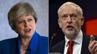 Theresa May and Jeremy Corbyn composite image