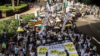 """香港民阵每年都会举行""""七一游行"""",争取各种政治权益。(资料图片)"""