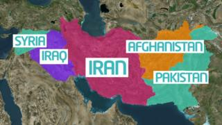 Map showing where Iran is
