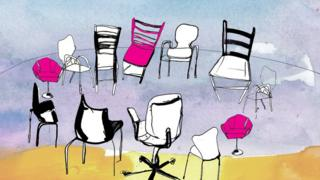 A BBC illustration showing a ring of chairs at a group therapy session