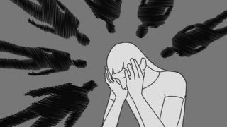 Ilustração representa pessoa em desespero