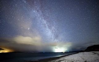 Night sky above Ganavan Sands, close to Oban.