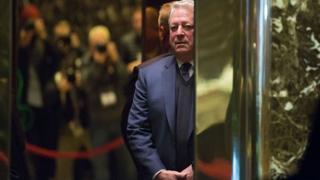 Al Gore on an elevator
