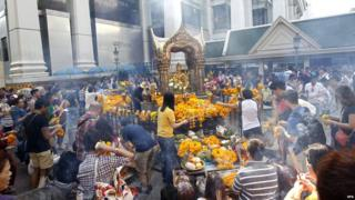New Year celebrations at the Erawan Shrine in Bangkok in January 2015