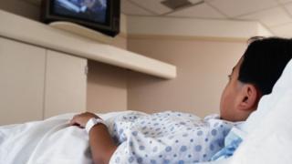 Patient watching TV