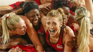Helen Housby, who scored in the final second and her England teammates celebrate at full time and winning the Netball Gold Medal Match between England and Australia on day 11 of the Gold Coast 2018 Commonwealth Games