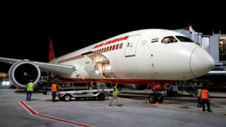 An Air India Boeing 787. The AI319 flight was the first Air India flight to land in Tel Aviv in 2018 following the use of Saudi Arabian airspace.