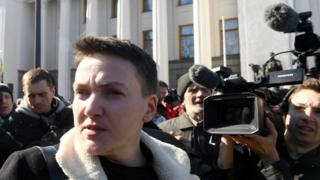 Nadiya Savchenko outside parliament, 22 Mar 18