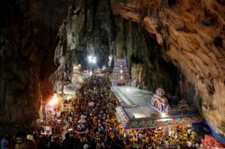 Hindu devotees in Batu Caves