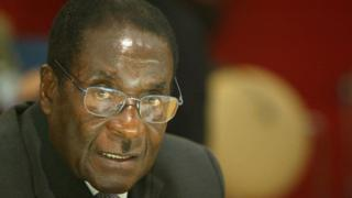 President of Zimbabwe Robert Mugabe in the 22nd African Heads of State Conference on February 21, 2003 in Paris, France