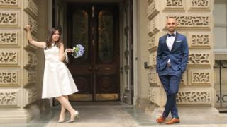 The couple, Samantha Jackson and Farzin Yousefian, had a small City Hall wedding instead