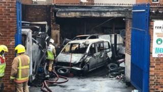 Scene of Wallsend fire
