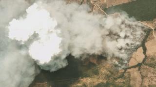 Satellite image of Amazon fire in the state of Mato Grosso