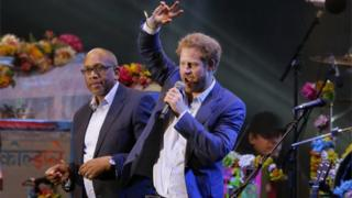 Prince Harry, with Prince Seeiso of Lesotho, speaks during the Sentebale Concert at Kensington Palace on June 28, 2016 in London, England
