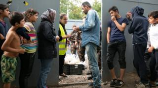 Migrants waiting at Hungarian border, 2016 file pic