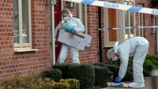 Police officers at the scene in Allerton Bywater