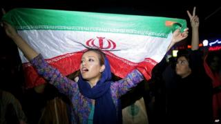 Woman with Iranian flag
