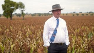 Barnaby Joyce sands in a paddock in his electorate of New England