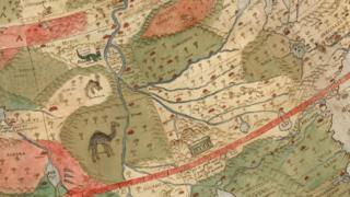 Este detalle muestra lugares y animales en África Central. (Foto gentileza de David Rumsey Map Collection).