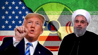 US president Trump and Iran president Rouhani