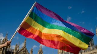 pride flags flies with houses of parliament in the background