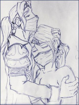 Ибелин обнимает Румор. Автор - Лизетт Руверс