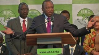 Kenyatta dey give speech after dem announce say im don win election