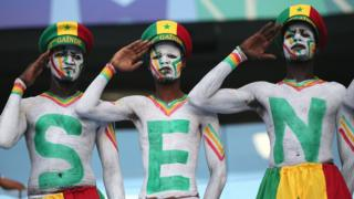 Painted Senegalese fans saluting in Russia - Thursday 28 June 2018