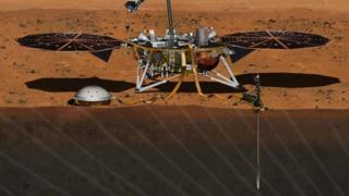 An artist's image depicts the InSight spacecraft studying the interior of Mars