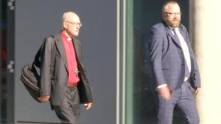 Lord Carey arriving at the independent abuse inquiry in London