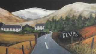 A painting of the Elvis rock