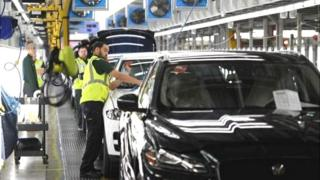 Jaguar Land Rover car assembly line