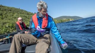 Water sample being taken from Loch Ness