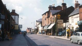Harborne High Street, in a view towards War Lane, in 1960