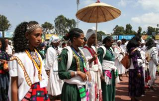 Women in traditional Amhara costume
