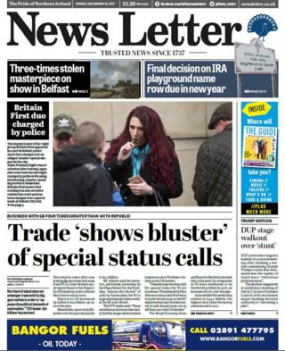 front page of the News Letter Friday 15 December 2017
