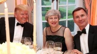 Donald Trump, Theresa May and Jeremy Hunt