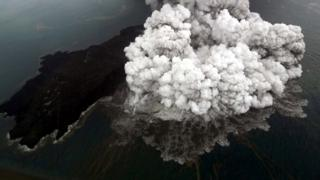 An aerial view of Anak Krakatau volcano during an eruption at Sunda strait in South Lampung, Indonesia, December 23, 2018